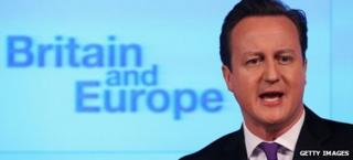 Prime Minister David Cameron speaking about the UK's relationship with the EU in London, 23 January 2013