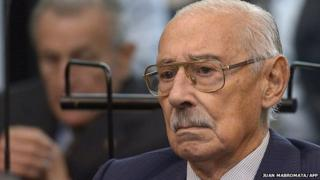 Former Argentine dictator and general, Rafael Videla, is seen during his trial to investigate the crimes committed during Operation Condor, a campaign established by Argentina, Chile, Paraguay, Brazil, Bolivia and Uruguay's dictatorships to quash the opposition during the 1970s, in Buenos Aires on March 5, 2013.