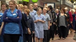 Nurses marching