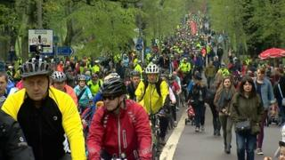 The cyclists made their way from the Meadows in Edinburgh to Holyrood