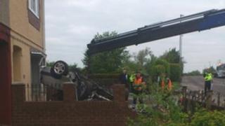 The scene of the crash on Engine Lane in Barnsley