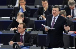 European Commission President Jose Manuel Barroso addresses the European Parliament in Strasbourg, 21 May