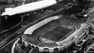 An aerial view of the Graf Zeppelin flying over Wembley Stadium during the 1930 FA Cup Final