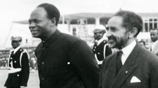 Ethiopian Emperor Haile Selassie (C) and Ghana's founder and first President Kwame Nkrumah (L) at founding of OAU