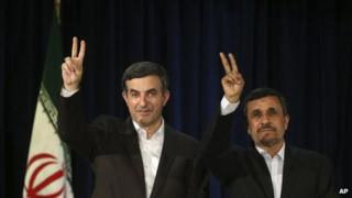 Iranian President Mahmoud Ahmadinejad, right, and his close ally Esfandiar Rahim Mashaei, at a news conference after registering Mr Mashaei's candidacy