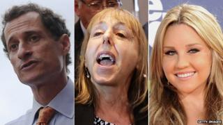 Anthony Weiner, Medea Benjamin of the group Code Pink, and Amanda Bynes