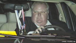 Toronto Mayor Rob Ford leaves city hall in Toronto on Thursday, May 23, 2013