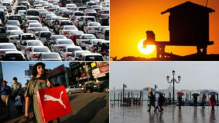 (clockwise from top left): Traffic jam in Korea; sunset in California; rainy in Venice; shopping in India
