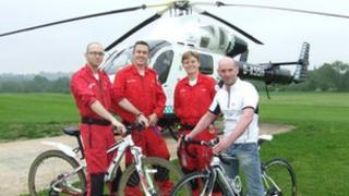 Air ambulance crew members