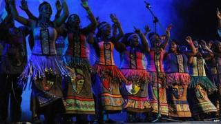 A group of South African dancers performs during the 50th African Union Anniversary Summit in Addis Ababa on 25 May 2013