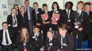 Justin King with the pupils from Whitley Academy