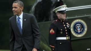 US President Barack Obama walks from Marine One on the White House on 28 May 2013