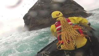 Nick Hancock approaching Rockall by boat