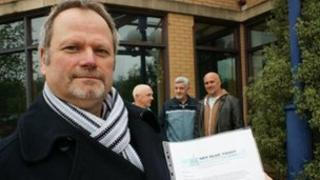Sky Blues Trust members deliver a letter for Paul Appleton