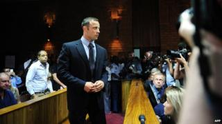 South African Olympic sprinter Oscar Pistorius appears in court in Pretoria on 22 February 2013