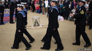 HMS Duncan crew carry chip's bell into Mary Rose Museum