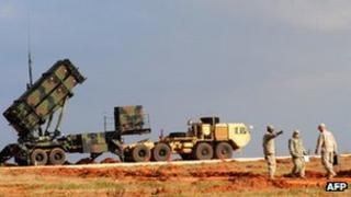 A Patriot missile launcher at a Turkish military base in Gaziantep, February 2013
