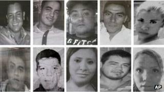 Composite picture of 10 of the missing