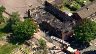 Aerial view of the fire at Al-Rahma Islamic Centre