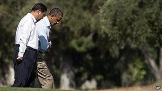 President Xi Jinping and President Barack Obama walk on the Sunnylands estate. 8 June 2013