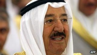 Kuwaiti Emir Sheikh Sabah al-Ahmad al-Sabah attends the opening of the 19th Arab Inter-Parliamentary Union conference in Kuwait City on 9 April 2013
