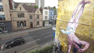 Breakdancing Jesus mural in Bristol