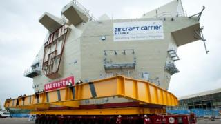 Carrier section loaded on to barge