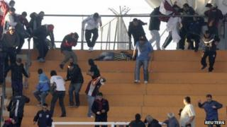 Lanus supporters in La Plata
