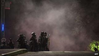 Riot policemen take their positions in Sao Paulo, Brazil, on 11 June, 2013