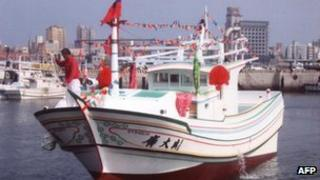 Undated handout photo released by Liuqiu fishing committee on 10 May 2013 shows the Guang Ta Hsin 28 fishing vessel in Liuqiu