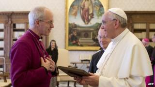 Justin Welby, Pope Francis