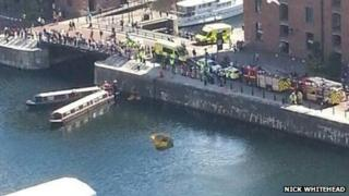 The sinking duckboat in Liverpool's Albert Dock