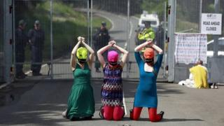 Pussy Riot supporters outside G8 compound