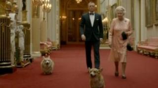 The Queen with James Bond and corgis in a sketch for the Olympics opening ceremony