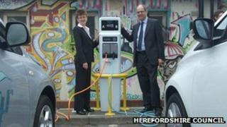 Electric car charging point in Herefordshire