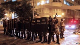 Rio police in Sao Paulo on 18 June 2013