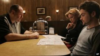 James Gandolfini, with Edie Falco and Robert Iler in The Sopranos