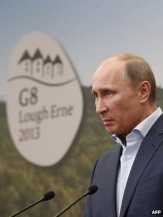 Russian President Vladimir Putin at the G8 summit in Northern Ireland, 18 June