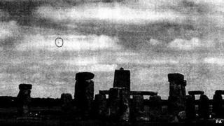 """Undated handout photo issued by The National Archives of a photograph apparently showing a """"UFO"""" by Stonehenge, Wiltshire, January 2009"""