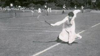 Blanche Hillyard, George's wife, in action on the court