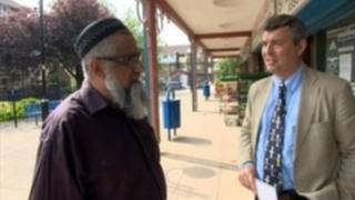 Sir Clive Loader talks to residents