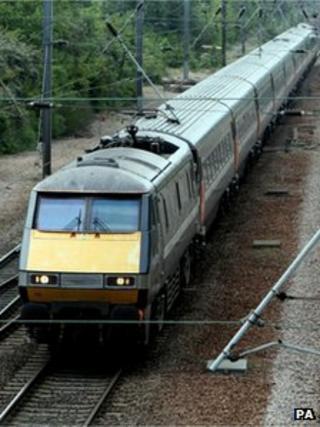 East Coast main line train near Peterborough