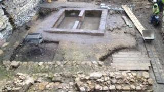 Foundations of an 11th Century timber building uncovered at Lincoln Castle