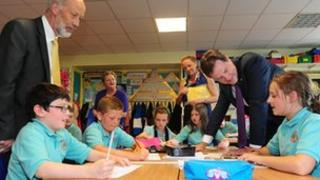 Clegg with pupils