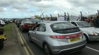 Cars queuing to get to the South East Air Show