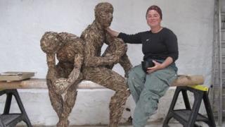Anna Gillespie with sculpture