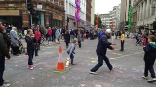 People take to the car free streets in Bristol