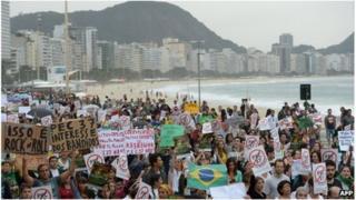 Protesters in Copacabana, Rio de Janeiro