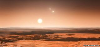 An impression of what the sky might look like from the exoplanet Gliese 667Cd