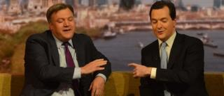 Ed Balls, left, with George Osborne, right, on the BBC's Andrew Marr Show